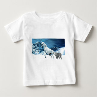Unicorn and Snow Leopard Mythical Enchanted Baby T-Shirt