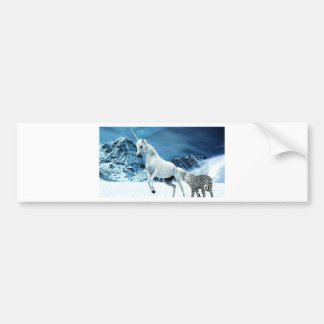 Unicorn and Snow Leopard Mythical Enchanted Bumper Sticker