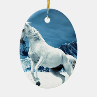 Unicorn and Snow Leopard Mythical Enchanted Christmas Ornament