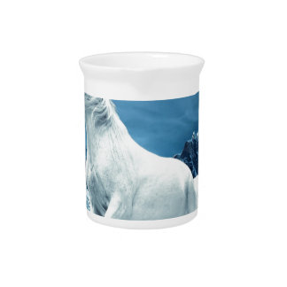 Unicorn and Snow Leopard Mythical Enchanted Pitcher