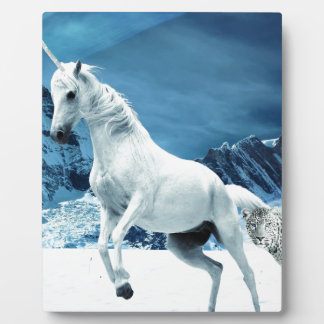Unicorn and Snow Leopard Mythical Enchanted Plaque