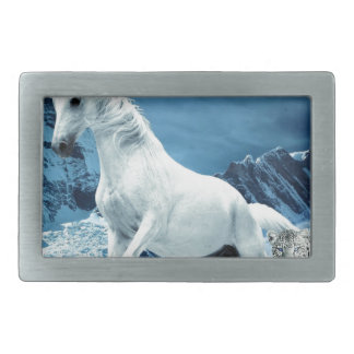 Unicorn and Snow Leopard Mythical Enchanted Rectangular Belt Buckle