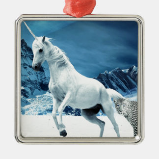 Unicorn and Snow Leopard Mythical Enchanted Silver-Colored Square Decoration