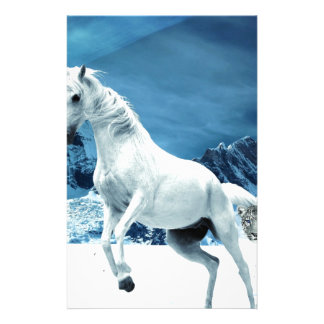 Unicorn and Snow Leopard Mythical Enchanted Stationery Paper