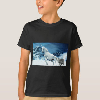 Unicorn and Snow Leopard Mythical Enchanted T-Shirt