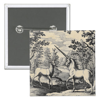 Unicorn and Stag Large 15 Cm Square Badge