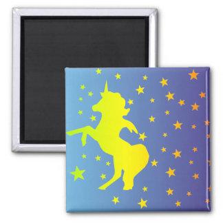 """  Unicorn and Stars "" Square Magnet"