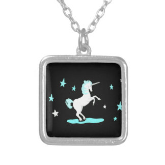 Unicorn and Stars Silver Plated Necklace