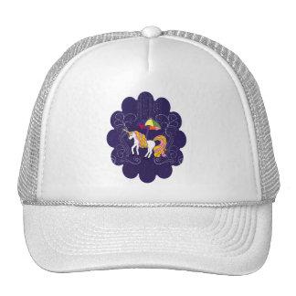 Unicorn and Umbrella Whimsical Cartoon Art Trucker Hats