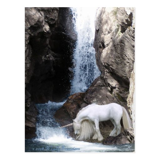 Unicorn and Waterfall Post Card