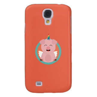 Unicorn Angel Pig in circle Q1Q Galaxy S4 Case