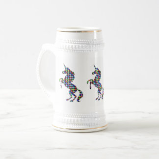 UNICORN animal fantasy dot kids  ARTISTIC GRAPHICS Beer Stein