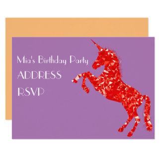 Unicorn art colourful girl's birthday party 13 cm x 18 cm invitation card