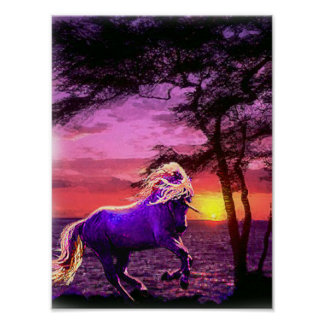 unicorn at sunset poster