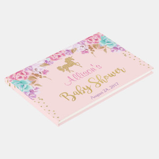 Unicorn baby shower guest book, pink and gold guest book