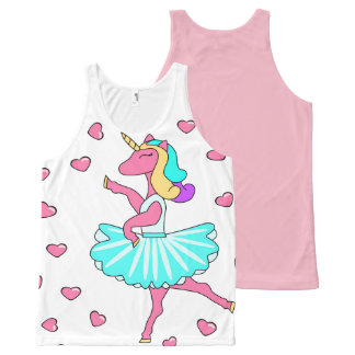 Unicorn ballerina ballet pink heart dance tank top