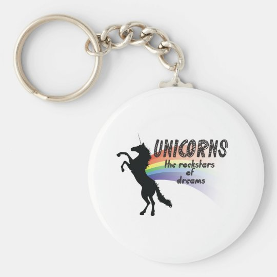 Unicorn Basic Round Button Key Ring