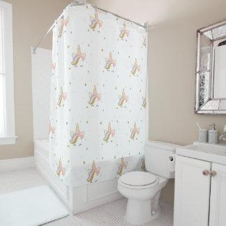 Unicorn bathroom curtain, gold and pink decor shower curtain