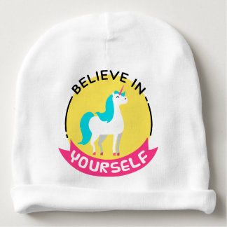 """Unicorn """"Believe in yourself"""" motivational drawing Baby Beanie"""