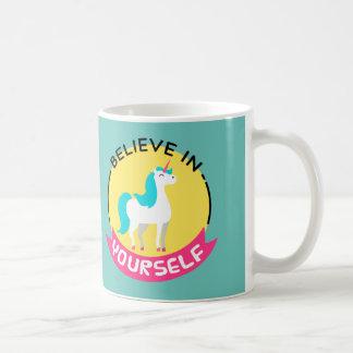 """Unicorn """"Believe in yourself"""" motivational drawing Basic White Mug"""