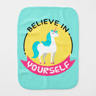 """Unicorn """"Believe in yourself"""" motivational drawing Burp Cloths"""