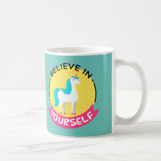"Unicorn ""Believe in yourself"" motivational drawing Coffee Mug"