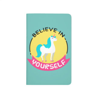 """Unicorn """"Believe in yourself"""" motivational drawing Journal"""