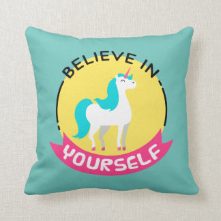 "Unicorn ""Believe in yourself"" motivational drawing Throw Pillow"