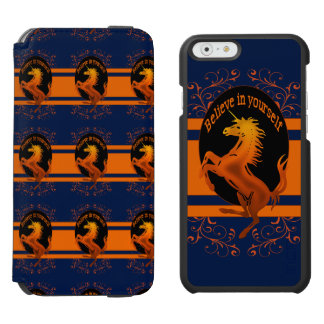 "Unicorn, ""Believe in yourself""  orange Incipio Watson™ iPhone 6 Wallet Case"