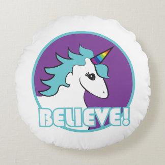 "Unicorn ""BELIEVE!"" Round Cushion"