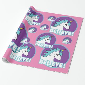 "Unicorn ""BELIEVE!"" Wrapping Paper"