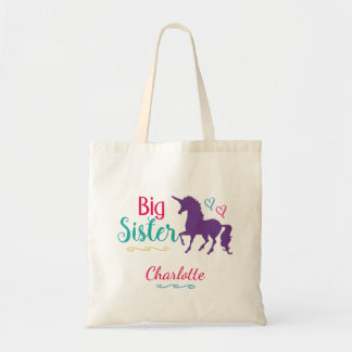 Unicorn Big Sister Colorful Sibling Personalized Budget Tote Bag