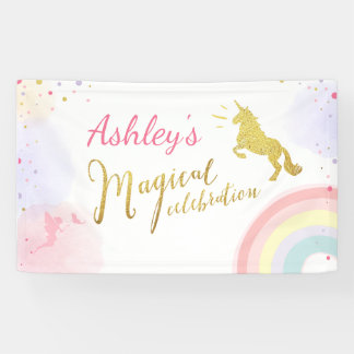 Unicorn birthday banner Magical Pink and Gold Girl