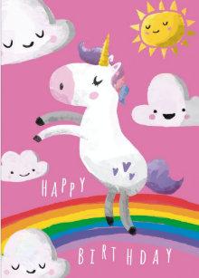 Pink Unicorn Birthday Cards
