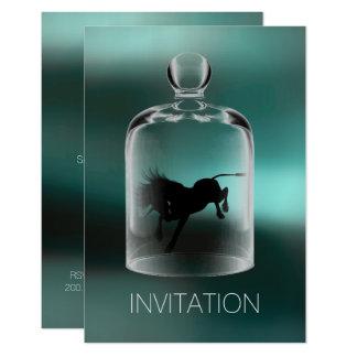 Unicorn Birthday Gentlemen Boys Night Party Teal Card