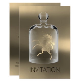 Unicorn Birthday Gentlemen Night Party Foxier Gold Card