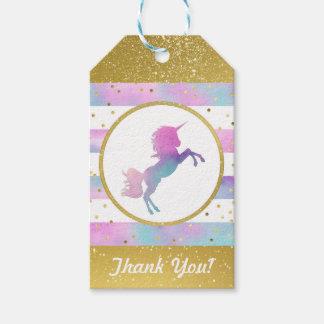 Unicorn Birthday Gift Tag | Watercolor Glitter