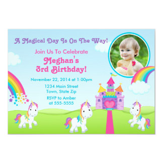 Unicorn Birthday Invitation 5x7 Photo Card