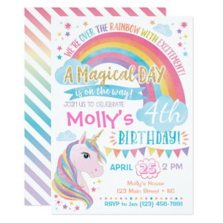 Unicorn Birthday Invitation Magical Rainbow Invite