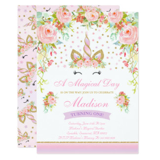 Unicorn Birthday Invitation Pink Gold Unicorn