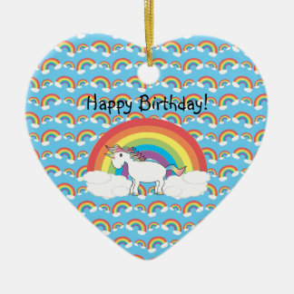 Unicorn birthday ornament