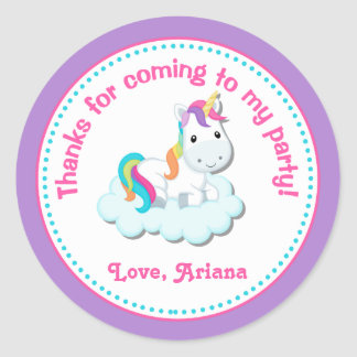 Unicorn Birthday Party Favor Tag Sticker