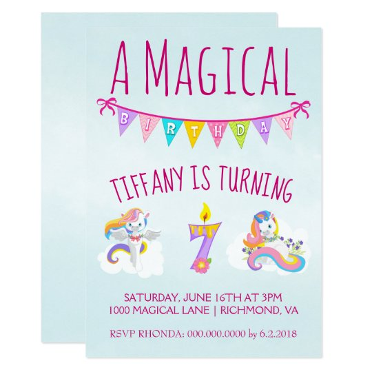 Unicorn Birthday Party For 7 Year Old Invitation