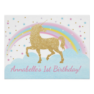 Unicorn Birthday Party Poster Backdrop