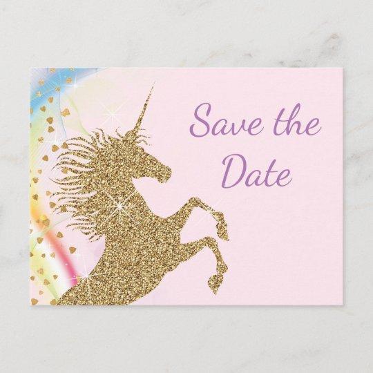 unicorn birthday party save the date postcards zazzle co uk