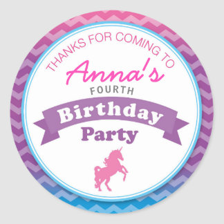 Unicorn Birthday Party Thank you Sticker