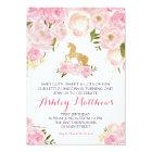 Unicorn birthday pink Beautiful Floral Invitation, Card