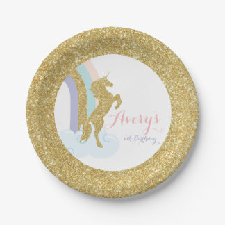 Unicorn Birthday Plate, Magical Birthday Party Paper Plate