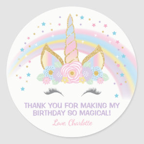 Unicorn Birthday Star Favour Stickers