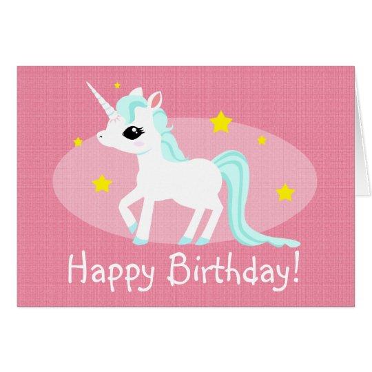 Unicorn birthday wishes customisable card
